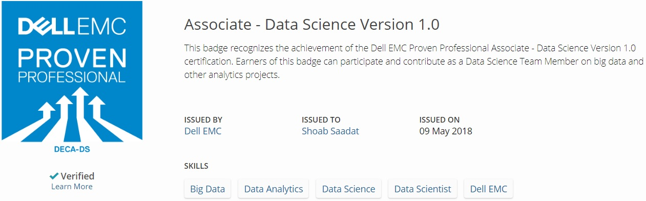 Completed My Certification Of Dell Associate Data Science